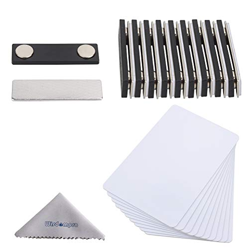 DIY Name Badges, Wisdompro 20 Set White Printable Blank PVC Badges (3.38 x 2.13 Inch) with Magnetic Name Tag for Jacket, Lapel,or Shirt - No Holes in Your Fine Jackets or Shirts