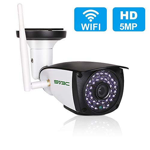 5MP Outdoor Security Camera, SV3C WiFi Wireless 5 Megapixels HD Night Vision Surveillance Cameras, 2-Way Audio IP Camera, Motion Detection CCTV, Weatherproof Outside Camera Support Max 128GB SD Card Bullet Cameras