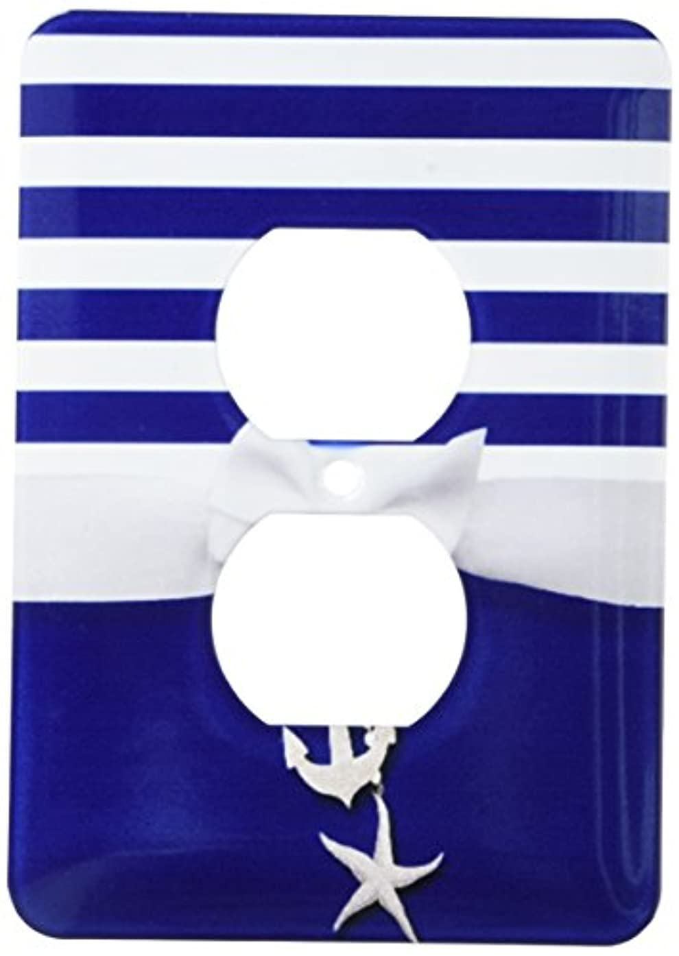 3dRose lsp_151234_6 Nautical Navy Blue and White Stripes 2D Ribbon Bow Graphic and Printed Anchor and Starfish Charms Light Switch Cover