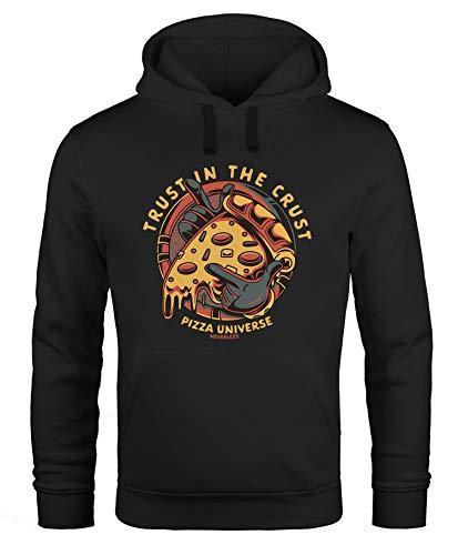 Neverless® Hoodie Herren Pizza Motiv Comic Stil Spruch Trust in The Crust Fashion Streetstyle Kapuzen-Pullover Männer schwarz 5XL