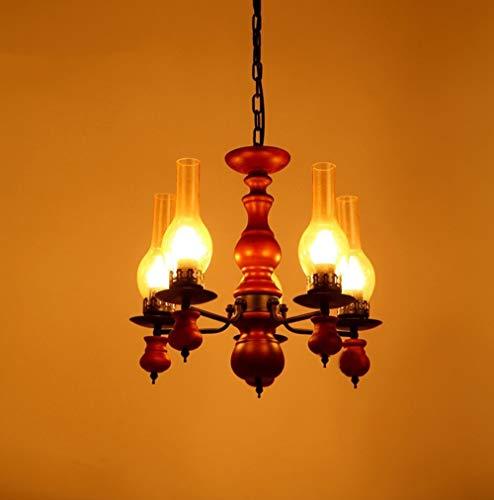 BOC Beleuchtung Kronleuchter Retro Massivholz Schlafzimmer Restaurant Lounge Schmiede Kronleuchter Lampe Kronleuchter Beleuchtung Lampen der einfachen Modus,550 * 420mm