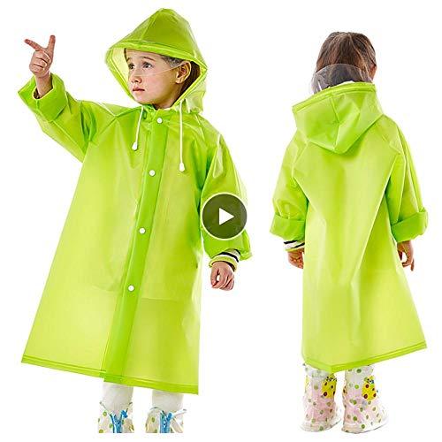 MULMF meisjes jongens baby kinderen groene regenjas Eva regenjas kleine kinderen regenkleding capuchon poncho regenjas regenjas regenjas voor kinderen maat (L)