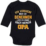 Sprüche Baby - Ich versuche Mich zu benehmen Aber ich komme nach Meinem Opa orange - 3/6 Monate - Schwarz - Strampler mit sprüchen Opa - BZ30 - Baby Body Langarm