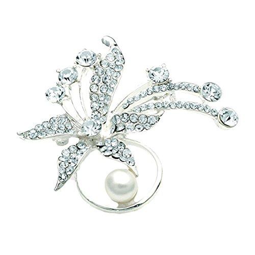 Kristall silberfarben und cremefarbener Perle Blume-Schal