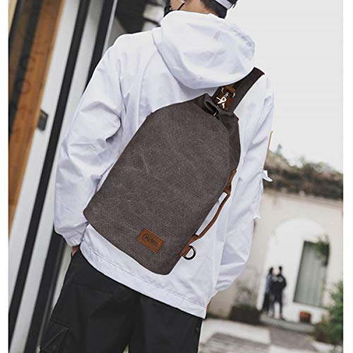 Canvas Sling Bag - Crossbody Backpack Shoulder Casual Daypack Chest Bags Rucksack for Men Women Outdoor Cycling Hiking Travel