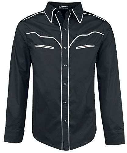 Banned Trim Hemd schwarz/weiß, Schwarz, XL