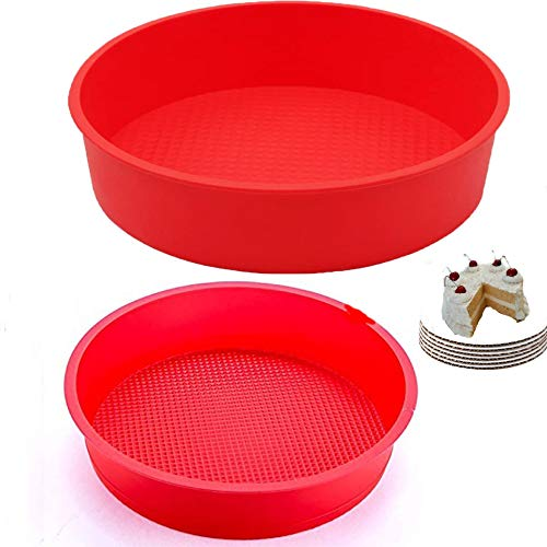 Set of 2, silicone Cake Pan Round 9-Inch silicone cake mold for baking 9-inch round silicone cake pan silicon cake baking pans, silicone cake molds for baking, 9.5 x 2.25-Inches (2, red)
