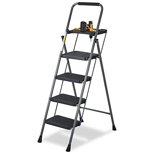 CharaVector 4 Step Ladder, Lightweight Folding Step Stool with Tool Platform and Convenient Handgrip Sturdy Wide Pedal for 330 lbs Capacity