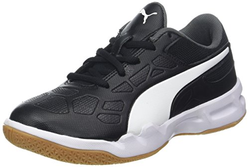 PUMA Unisex-Kinder Tenaz Jr Multisport Indoor Schuhe, Weiß White Black-Bleu Azur-Gum, 30 EU