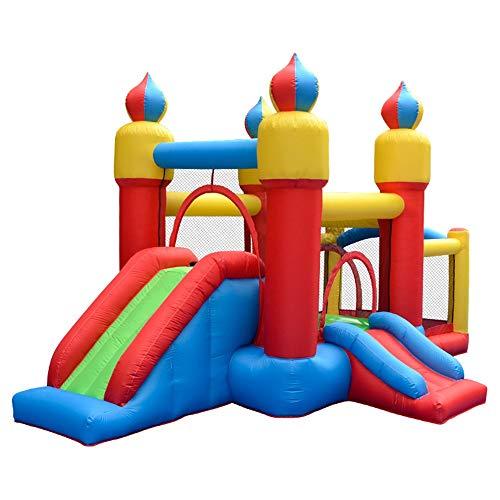 TXOZ-Q Inflable casa de la despedida, respetuoso del medio ambiente tela de nylon, tela Oxford diapositivas castillo inflable, trampolín al aire libre con Kid Cuadrícula y soplador (435 x 270 x 225 cm