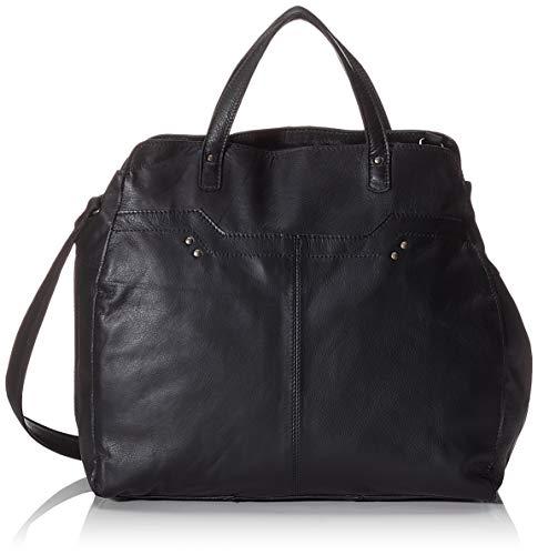 PIECES - Pccora Leather Daily Bag, Bolsos bandolera Mujer, Negro (Black), 12x32x35 cm (B x H T)