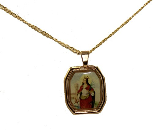 Diamantados of Florida Santa Barbara Medaille – Santa Barbara Anhänger 18 Karat vergoldet Medaille mit 45,7 cm Kette