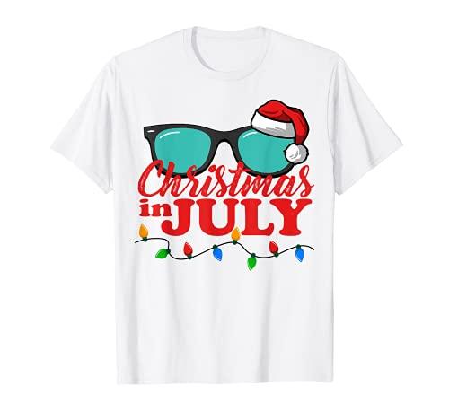 Christmas in July Santa Hat Sunglasses Summer Celebration T-Shirt