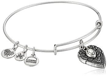 Alex and Ani  Path of Symbols  Guardian Angel Expandable Wire Silver Bangle Charm Bracelet