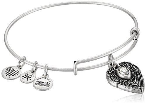 "Alex and Ani ""Path of Symbols"" Guardian Angel Expandable Wire Silver Bangle Charm Bracelet"