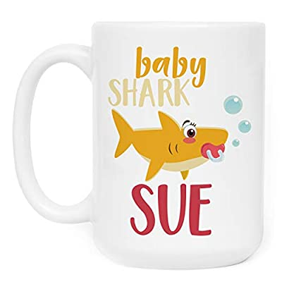 Personalized Birthday Gifts Shark Family Coffee Mug with Your Name - 11oz & 15oz Large Cup with Match - Birthday Gifts, Christmas Gifts, Gift for Granddaughter Daughter - Baby Shark Doo Doo Doo