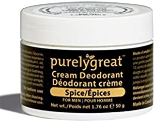 Purelygreat Men's All Natural Deodorant | Aluminum Free Deodorizer | Long Lasting Deodorant Cream | EWG Verified, Vegan, Cruelty-Free, No Aluminum, No Parabens, BPA Free | Essential Oils (Spice Scent)