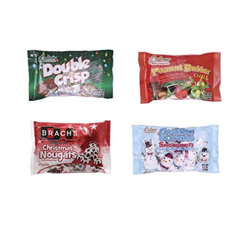 Christmas Holiday Chocolate Candy Variety 4 Pack Stocking Stuffers, Holiday Candy Bowl