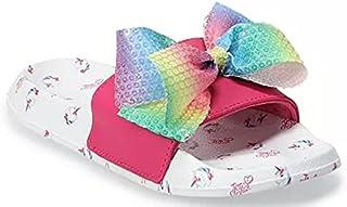 JoJo Siwa Girls Open Toe Unicorn Slide Sandals with Signature Rainbow Bow