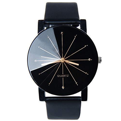 Moda orologio coppia Convex Meridian Strap orologio uomini e donne orologi cinturino in pelle orologio da polso nero quadrante Male batteria (in dotazione)