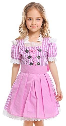 MOMBEBE COSLAND Mädchen Trachtenkleid Oktoberfest Kostüm Dirndl (Rosa, XS)