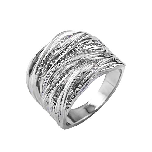 Fulltime(TM) Intertwined Crossover Statement Ring Fashion Chunky Band Rings for Women Men Gold Silver Rose Gold Plated Wide Index Finger Rings Costume Jewelry