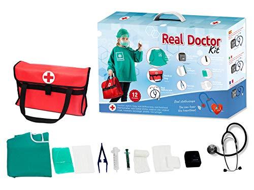 Otuli Arztkoffer 12-teilig Arzt-Kostüm Arztkittel funktionierende Werkzeuge wie Stethoskop Thermometer Arztstempel Spritzen für Kinder ab 5 Jahren Geschenke für Mädchen und Jungen, Maske
