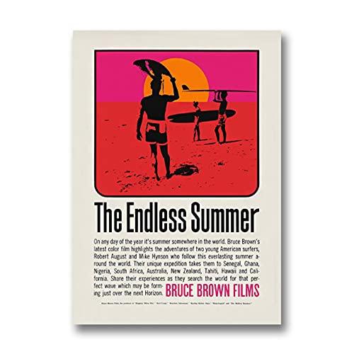 Chifang The Endless Summer Canvas Print John Van Hamersveld Natural Retro Movie Poster Tavola da Surf Wall Art Picture Vintage Painting Decor-50x70 cm x1 No Frame