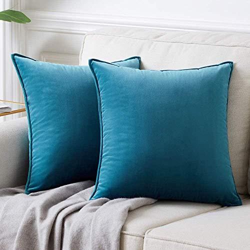 DAOXU Fodera per Cuscino in Velluto da Letto Federa 2 Pezzi Divano Decorativo e Federa per Divano (Blu Verde, 45x45cm(2pk))