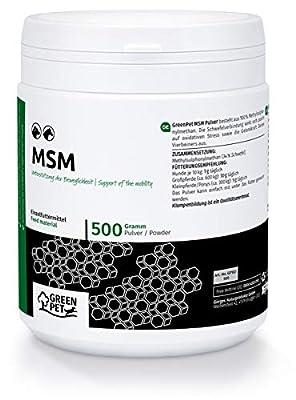GreenPet MSM Pferd & Hund 500g - Gelenkpulver für Sehnen, Bänder & Knorpel, Unterstützung der Pferde & Hunde Gelenke, Schwefel Methylsulfonylmethan Pulver, MSM Hund & Pferd für mehr Beweglichkeit