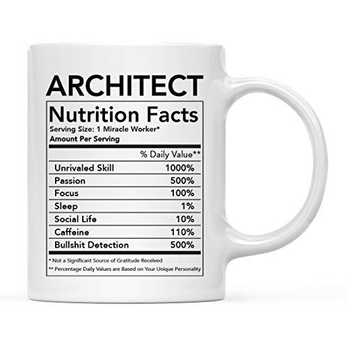 Andaz Press - Taza de cerámica para té de café (312 ml), diseño de arquitecto con...