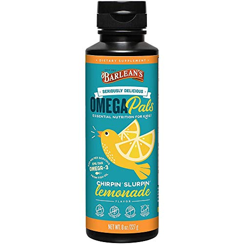Barlean's Seriously Delicious Omega Pals Chirpin' Slirpin' Lemonade from Fish Oil with 540 mgs of EPA/DHA - All-Natural Fruit Flavor, Non-GMO, Gluten Free - 8-Ounce