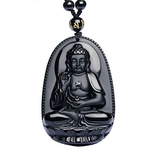 Natural Ice Obsidian Akasagarbha Avalokiteśvara Buddha Pendant Amulet necklace