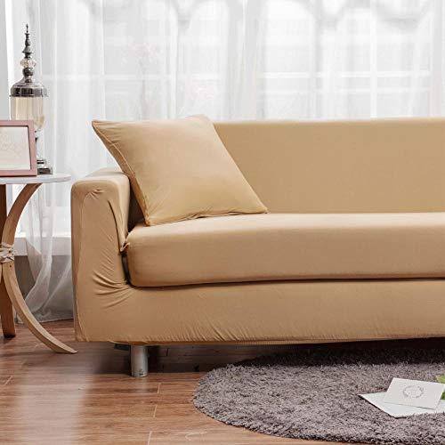 Topashe Funda de Sofá Elástica Punto,Funda de sofá Universal, Funda de sofá elástica-marrón Claro_145-180cm,Sillón Elastano Fundas de Sofá