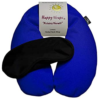 Happy Wraps Microwavable Unscented Flax Seed Neck Wrap & Free Sleep Eye Mask - Hot Cold Heating Pad for Shoulder & Neck Pain Relief Pillow - Stress & Migraine Relief - Heat or Freeze - Navy