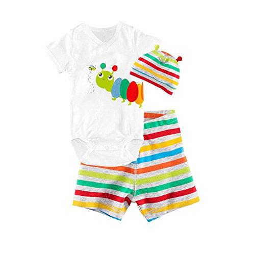 CuteOn 3 Packs Unisex B¨¦b¨¦ Infant manches courtes en coton V¨ºtements Set Pantalons Hat Bodysuit Carpenterworm 80cm