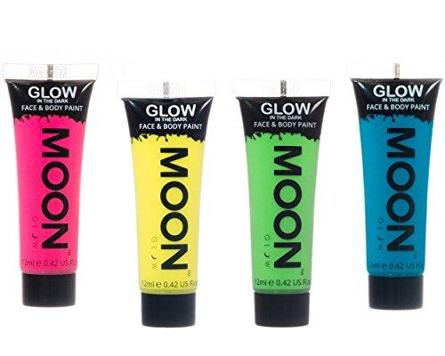 Moon Glow Neon Glow in the Dark Face & Body Paint Festival Party Set of 4 x 12ml by Moon Glow