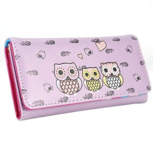 Swiftgood Mode söt tecknad damer plånbok Pu läder Bi-vikning plånbok Mode lång plånbok visitkortshållare väska Casual anteckningsblock