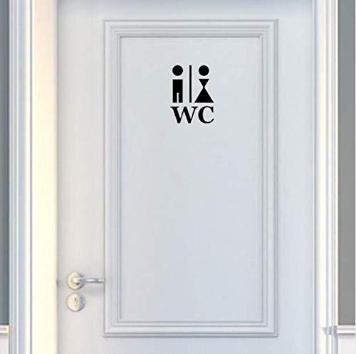 Zemn Wandaufkleber 16,5 * 22 cm Cartoon Mann Und Frau Wc Tür Dekoration Aufkleber Grafische Wandtattoos Schwarz