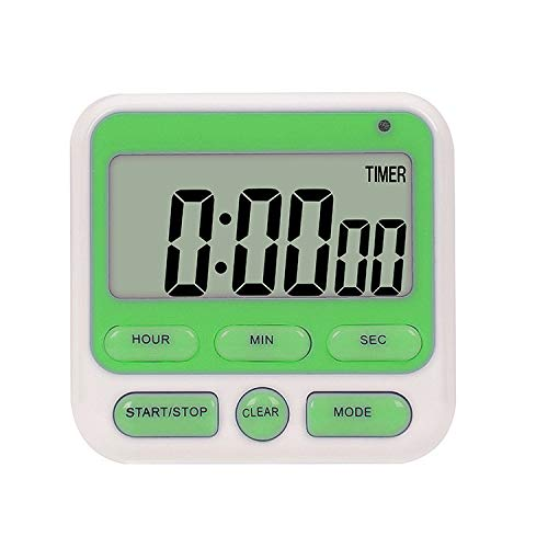 SK Depot 24-Hours Digital Kitchen Timer, Upgraded Large Display, Loud Alarm, Magnetic Backing Stand, ON/OFF Switch, Memory Recall Function, Count-Up & Count Down Timers for Cooking Games Office(Green)