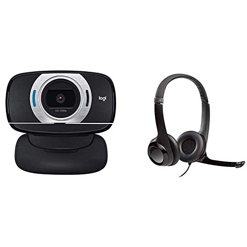 Logitech HD Laptop Webcam C615 with Fold-and-Go Design, 360-Degree Swivel, 1080p Camera Bundle with Logitech USB Headset H390 with Noise Cancelling Mic