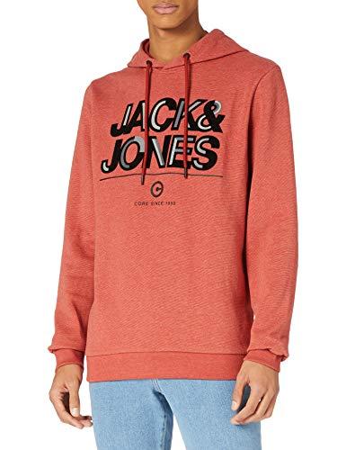 JACK & JONES Jcoberg Sweat Hood Sweatshirt Capuche, Ocre Rouge/Détail : Mélange, M Homme