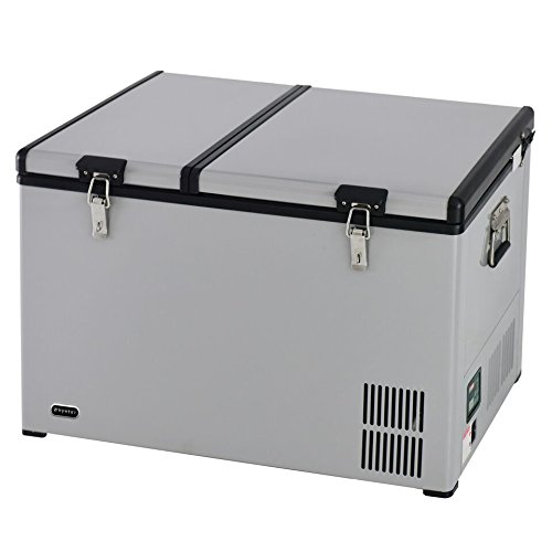 Whynter FM-901DZ 90 Quart Dual Zone Portable Fridge Optional Wheels, AC 110V/ DC 12V True Freezer for Car, Home, Camping, RV-8°F to 50°F, One Size, Gray