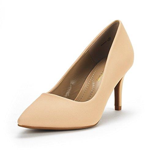 DREAM PAIRS KUCCI Damen Pump Klassische Mode Spitz Hohen Absatz Kleid Schuhe Nackt Nubuk 8 US / 39 EU