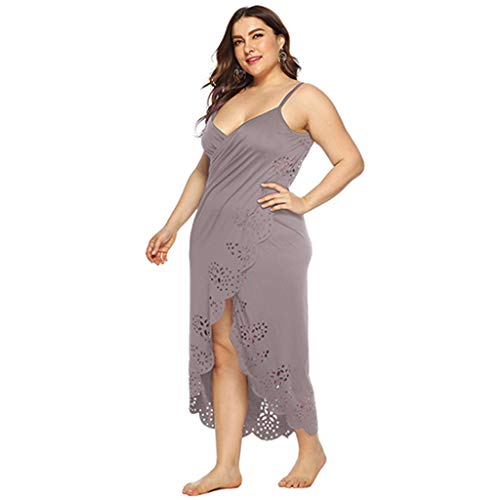 FUIW Frauen Blumen Bikini Wrap Cover Up Spaghettiträger Strickjacke Strandkleid - Khaki # XL