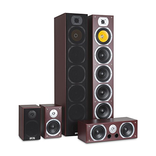 AUNA V9B - Surround Lautsprecher Boxen Set, Surround Sound-System, Heimkinosystem, Bassreflex-Chassis, 400 Watt RMS, 20 Hz - 20 kHz Frequenzgang, Mahagoni