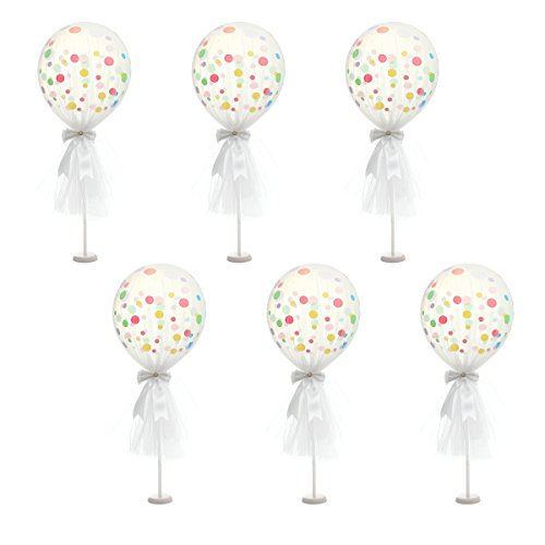 Suppromo 12 inch Party Latex Polka Dot Balloons Tutu Tulle Balloons With Column Base Kit for Baby Shower Birthday Wedding Party Decoration(White Tulle Balloon, 6 Pack)