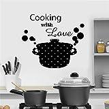 Cuisine Casserole Pan Cuisson avec Amour Citation Stickers Muraux Vinyle Art Décor À La Maison Decal Amovible Auto-Adhésif 48X42CM