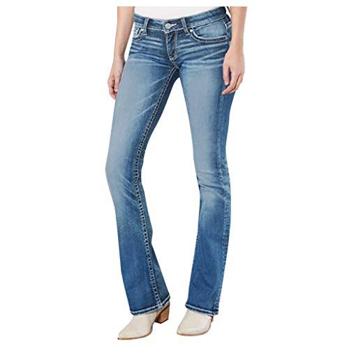 AOGOTO Jeans acampanados de cintura media acampanada pantalones vaqueros elásticos delgados con bolsillo y botones de longitud