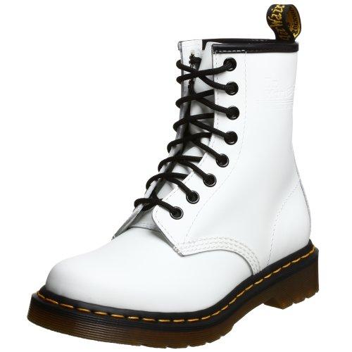Dr. Martens Damen 1460W Originals Eight-Eye Lace-Up Boot, 8-Loch, Stiefel, Weißes Glattleder, 36 EU